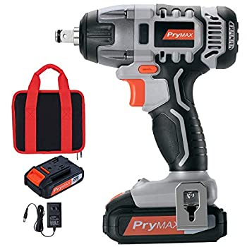 Prymax 20V MAX Cordless Impact Wrench with LED Work Light 1/2 Chuck Max Torque 220N.m Variable Speed  0-2600 RPM  1.5A Li-ion Battery and Charger Included