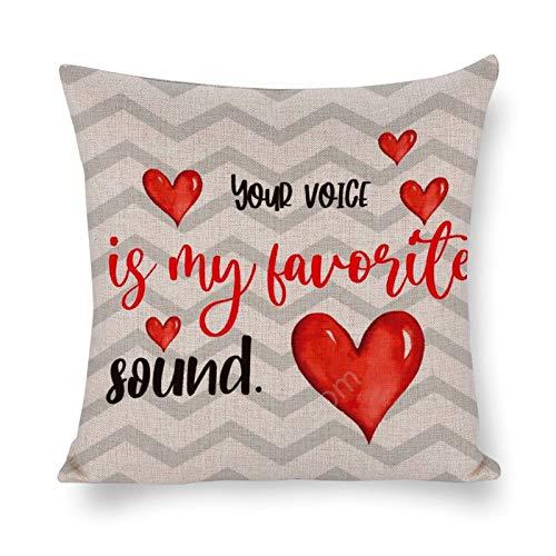 Fundas de cojín cuadradas de lino de algodón de 35,5 x 35,5 cm, fundas de cojín, cama, sofá, sofá, coche, decoración del hogar, feliz día de San Valentín, tu voz es mi sonido favorito