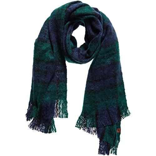 Superdry Damen Schal SUPER Orkney Scarf - Green/Blue, Größe:OneSize
