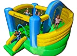 Island Hopper Curved Double Slide Recreational Kids Bounce House with...