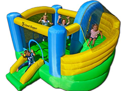 Island Hopper Curved Double Slide Recreational Kids Bounce House with Safe Return Curved Slide and Climbing Wall