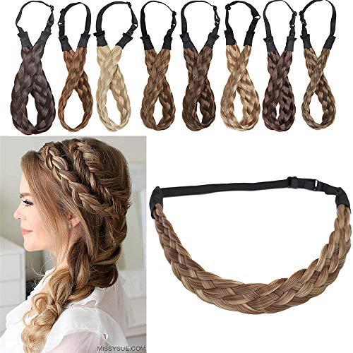 """Extensions Haarband geflochtene Braids Haar Haarverlängerung verstellbare Stirnband elastische Stretch Haarteil Beauty-Accessoire für Frauen Hellbraun & Aschblond M-2.5cm(1 """")-30g"""