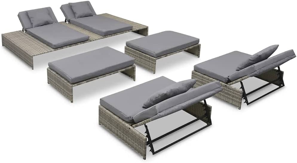 TooFu Challenge the lowest price of Japan Outdoor Lounge Set 15 Poly favorite Gray Pieces Rattan