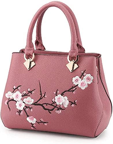 LEOCEE Bolso de hombro con asa superior para mujer con bordado, bolso de mano, bolso de mensajero, bolso cruzado