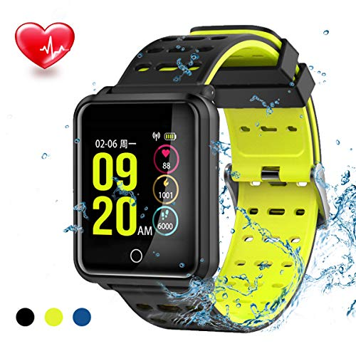 TagoBee SmartWatch TB06 IP68 Fitness Tracker für Schwimmen Bluetooth Wasserdicht Activity Tracker Pedometer Schrittzähler Hat Kompatibel mit Andriod und ios schwarz