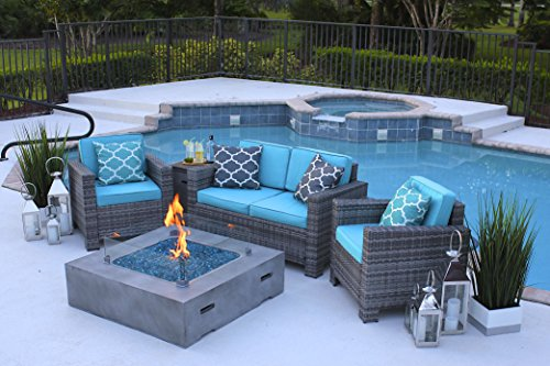 """AKOYA Outdoor Essentials 4 Piece 42"""" x 42"""" Square Modern Concrete Fire Pit Table in Gray w/Outdoor Patio Furniture Set (Caribbean Blue)"""