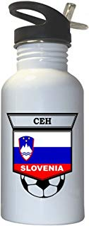 Ales Ceh (Slovenia) Soccer White Stainless Steel Water Bottle Straw Top