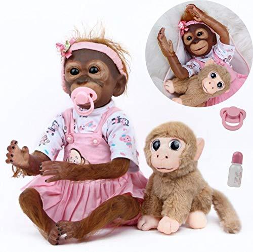 ANTBOAT Reborn Puppe 50 cm 20 Zoll Realistische Weiches Silikon Vinyl Reborn AFFE Mädchen Lebensecht Reborn AFFE Puppe handgefertigt mit Kuscheltier