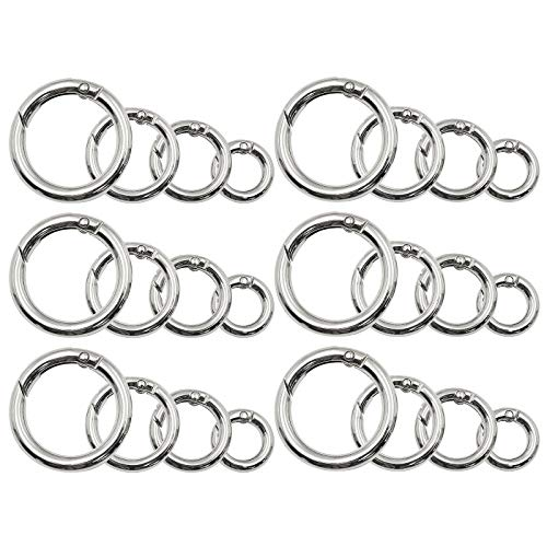 Jiozermi 24 Pcs Spring O Rings Buckle, Solid Metal Round Spring Snap Clip Hook, Non-Welded Spring Snap Hook, DIY Accessories for Bags, Camping Backpack, Purses & Key Ring, 4 Size, Silver