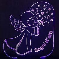 16色変化する3DビジュアルエンジェルブローイングスターシェイプLEDナイトライトキッドバーü hrenボタンロマンチックなUSBランプデスクランプ家の装飾