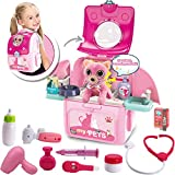 MAGIC4U Pet Cat Carrier Backpack Toy, 23PCS Pet Care Playset,Vet Clinic and Doctor Kit for Kids, Pet Veterinarian Medical Role Play Set for Boys and Girls Ages 3-6 Pink