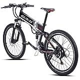 Bicicleta eléctrica GUNAI, Bicicleta de montaña/Carretera eléctrica Plegable de 26'con Motor de 500W, batería de 48V 12.8AH, Sistema de transmisión Shimano de 21 velocidades