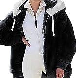 MFFACAI Suéter con Capucha Suéter con Capucha para Mujer, Elegante Sudadera de Felpa de Peluche y Manga Larga de Color Sólido Otoño Invierno Cálido Top (Color : Black, Size : M)