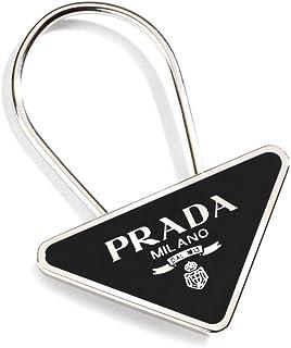 Prada Triangle Logo Lacquer Plaque Keyring, Black/silver