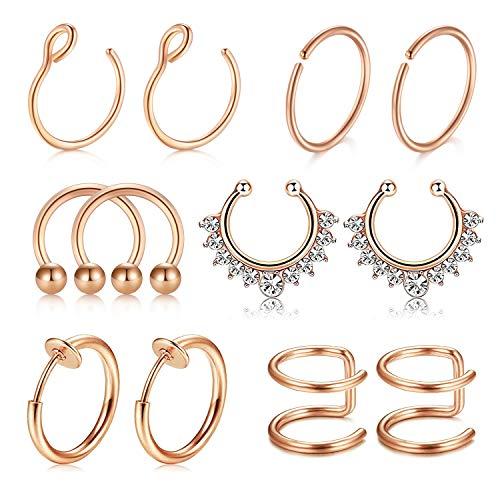 Fake Non-Pierced Septum Ring Nose Lip Ear Rings Helix Tragus Cartilage Earrings Piercing for Women Men 12PCS
