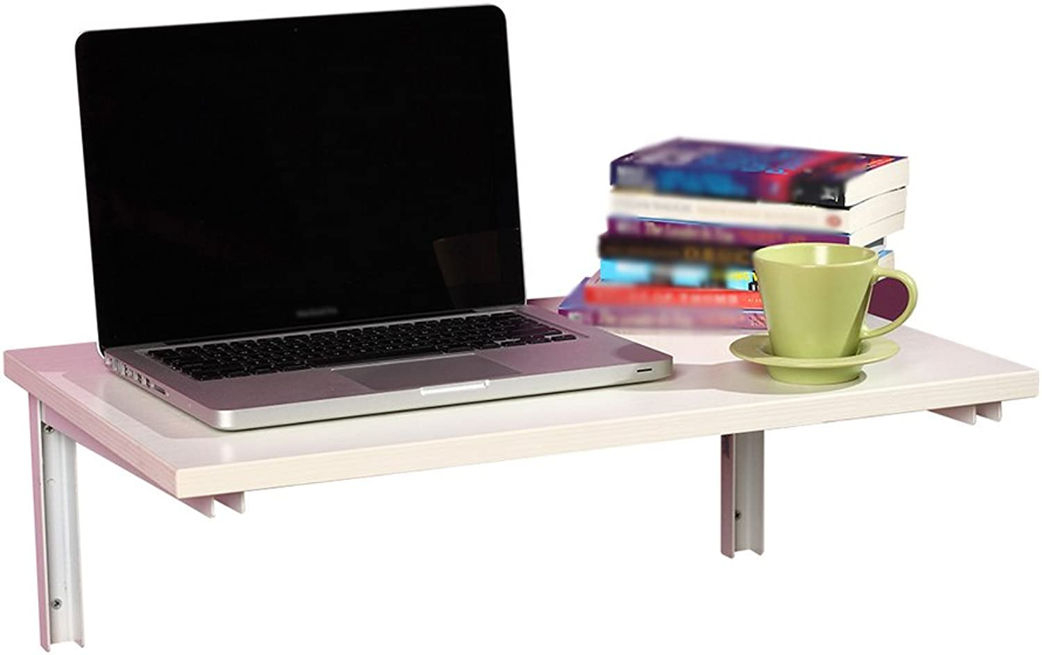 WSSF- White Wall Shelf Folding Dining Table Computer Desk Wood Drop-Leaf Creative Bookshelf Wall-Mounted Learning Table Writing Desk (Size   6040cm)