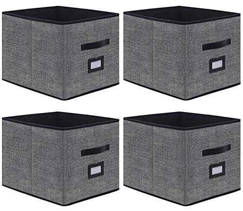 Onlyeasy Foldable Cloth Storage Cubes with Label Holders - Fabric Storage Bins Baskets Organizers for Home Office Nursery Cubby with Dual Leather Handles 13x15x13 4 Pack Black MXABXL04PLP