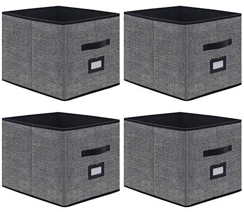 homyfort 4er Set Faltbare aufbewahrungsboxen stoffbox faltbox mit Ledergriffe und Etikettenhalter, 33 x 38 x 33 cm, schwarz Leinen, XABXL04PLP