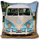 VW Volkswagen Kuschel-Kissen Bulli T1 blau grün rot 40 cm x 40 cm VW Bus Campervan Schmusekissen...