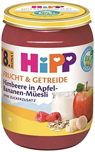 Hipp Bio Frucht & Getreide Himbeere in Apfel-Bananen Müesli, 6er Pack (6 x 190 g)
