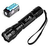 UltraFire WF501B 800 Lumens 5-Modes Handheld Mini 18650 Flashlight,Waterproof Led Tactical Flashlight,with 2PCS 3.7V 2200mAh 18650 Rechargeable Batteries and Charger for Camping Hiking