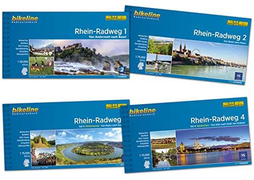 Bikeline Radtourenbuch Rhein-Radweg (Band 1+2+3+4) von Andermatt, über Basel, Mainz, Duisburg, Köln bis Hoek van Holland im Komplettset als Geschenk