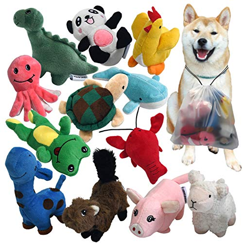 Squeaky Plush Dog Toy Pack for Puppy, Small Stuffed Puppy Chew Toys 12...