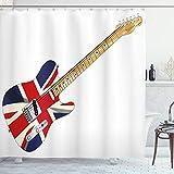 ABAKUHAUS Union Jack Rideau de Douche, Flag Guitare électrique, Tissu Ensemble de Décor de Salle de Bain avec Crochets, 175 cm x 220 cm, Brun pâle Gris Noir