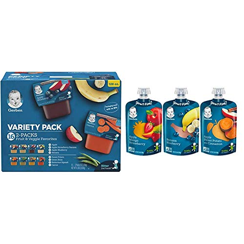 Gerber Purees 2nd Foods Veggie & Fruit Variety Pack, 8 Ounces, Box of 16 (packaging may vary) & Assorted Fruit Toddler Pouch Variety Pack (Pack of 18)