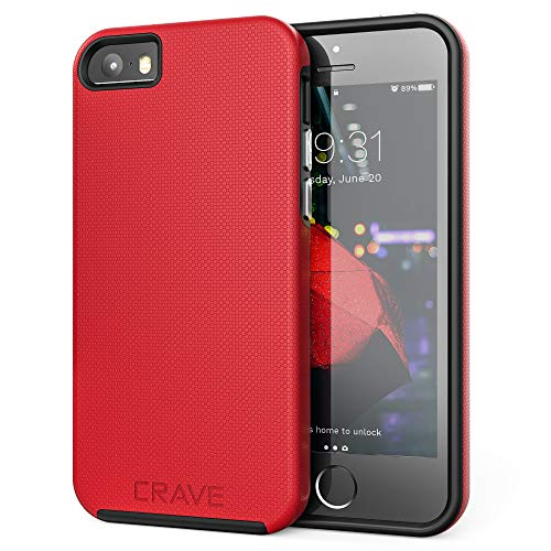 Crave iPhone SE [2016](1st gen) Case, Dual Guard Protection Series Case for iPhone 5 / 5s / SE - Red