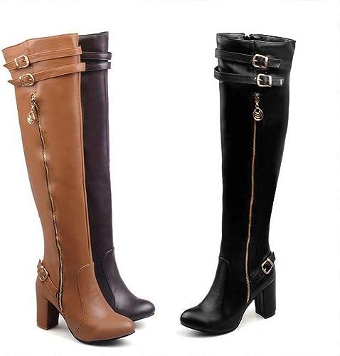 ZHRUI botas para mujer - botas cálidas clásicas Europeas y Americanas de otoño e Invierno botas de Caballero botas Gruesas con Rodilla   35-43 (Color   amarillo, tamaño   42)