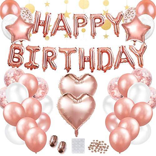 ThinBal Geburtstagsdeko Rosegold Ballons,Happy Birthday Girlande Luftballons Rosegold mit Konfetti Luftballons Latex Helium Ballons zum Birthday Party Deko Geburtstag 1 Junge,Mädchen,Hochzeitsdeko