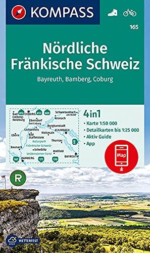 KOMPASS Wanderkarte Nördliche Fränkische Schweiz, Bayreuth, Bamberg, Coburg: 4in1 Wanderkarte 1:50000 mit Aktiv Guide und Detailkarten inklusive Karte ... Verwendung in der KOMPASS-App. Fahrradfahren.