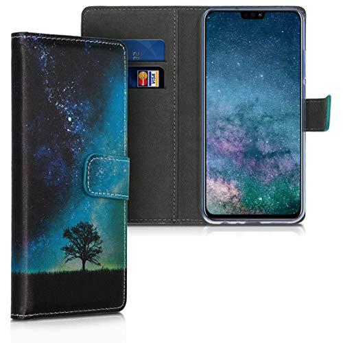kwmobile Funda Compatible con Huawei Honor 8X - De Cuero sintético - Case con Tarjetero en Azul/Gris/Negro