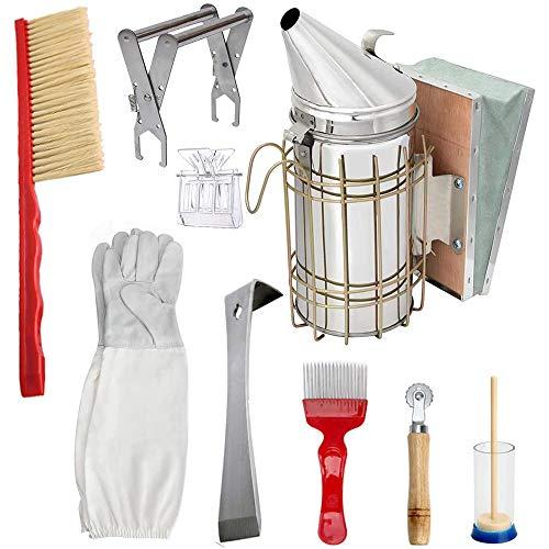 Ctzrzyt Beekeeping Honey Tools Starter Kit Set of 9 Bee Hive Smoker Equipment Supplies with Beekeepers Gloves