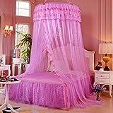 zyy Toldo Cortinas de Cama for Muchachas Niños Redondo Hazme Romántico Somieres Pabellón Grande Talla Dormitorio Decoración Sueño Tienda (Color : Purple, Size : Bed 78.7')