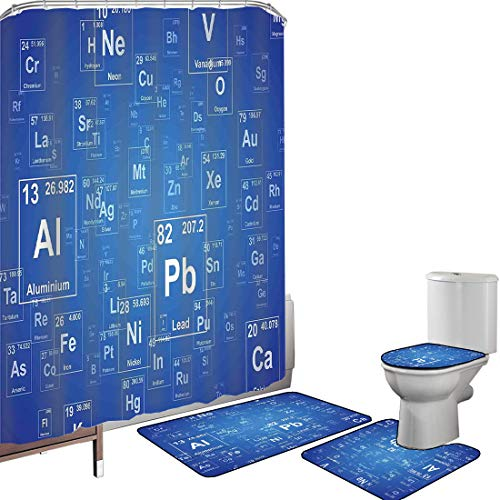 Douchegordijnset Badkameraccessoires Tapijtset Wetenschap Badmat Contour Rug WC-hoes Chemie Tv Show geïnspireerd beeld met periodiek elemententabel Afbeelding afdrukken Art, blauw en wit Antislip wate