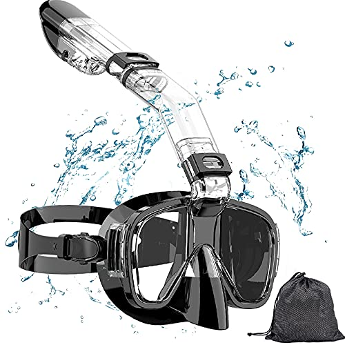 Snorkel Mask, Panoramic Wide View, Foldable Anti-Fog Scuba Diving Mask with Dry Top System and Camera Mount for Free Diving and Swimming, Professional Snorkeling Gear for Kids Men Women Adults BLACK
