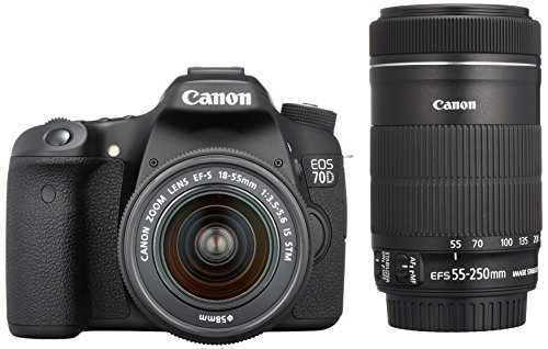 Canon EOS 70D with 18-55mm STM and 55-250mm STM Lenses - International Version