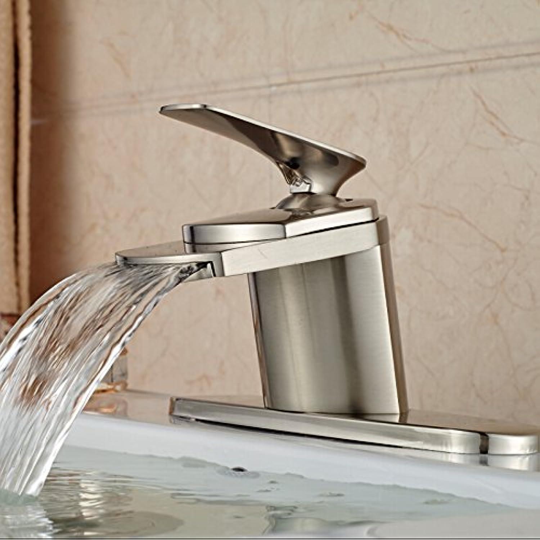 U-Enjoy Waterfall Spout Bathroom Top Quality Vanity Sink Mixer Faucet Deck Mount Single Handle Water Taps (Free Shipping)