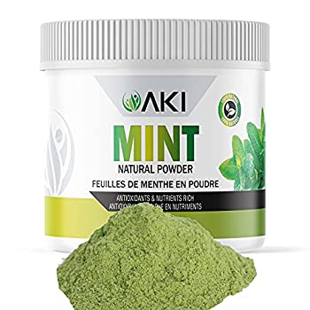 AKI Refreshing Mint Leaves Powder Extract 3 Oz Non-GMO and Vegan Friendly | Supports Digestion and Useful in Flavoring Cooking Baking Drinks Tea Cocktails  85g