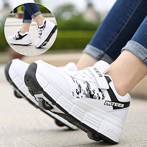 qmj Roller Skate Shoes Skating Shoes Invisible Automatic Pulley Single Dual Wheels Boy Girl Roller Skates Sport Outdoor Cross Trainers Shoe,Double-38 EU