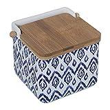 DRW - Saliera originale in ceramica, quadrata, con coperchio in bambù, 12 x 12 x 12 cm blu