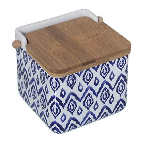 DRW Salero Original cerámica Cuadrado con Tapa bambú 12x12x12 cm (Azul)