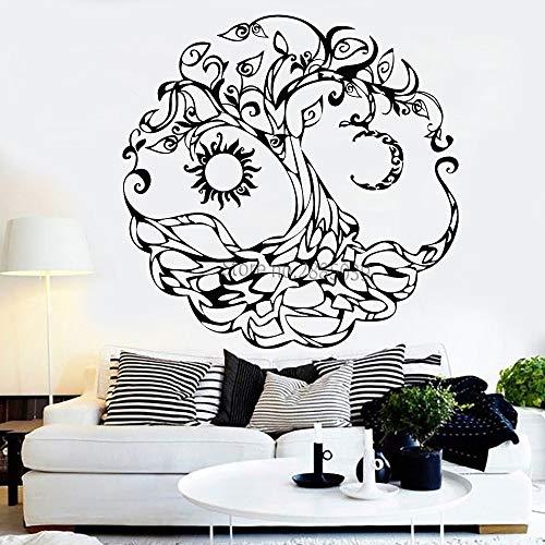 yiyitop Abstrakte Lebensbaum Vinyl Wandtattoo Tribe Symbol Mond Sonne Tag Nacht Aufkleber Wandbild Kunst Schlafzimmer Wohnzimmer Dekor L 80 * 80 cm
