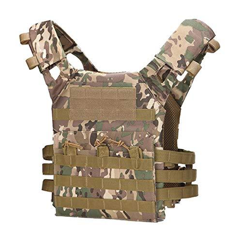 Milageto Chaleco táctico Molle Chaleco de Combate con múltiples Bolsillos para los fanáticos Militares Adultos Actividades al Aire Libre Chaqueta de Ropa - CP