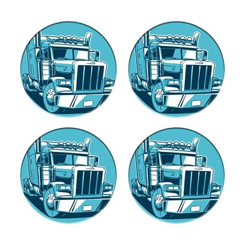 Posavasos para Bebidas,Remolque Camión Americano Clásico Dibujos Animados Duotono Tractor Semi Grande,Manteles...