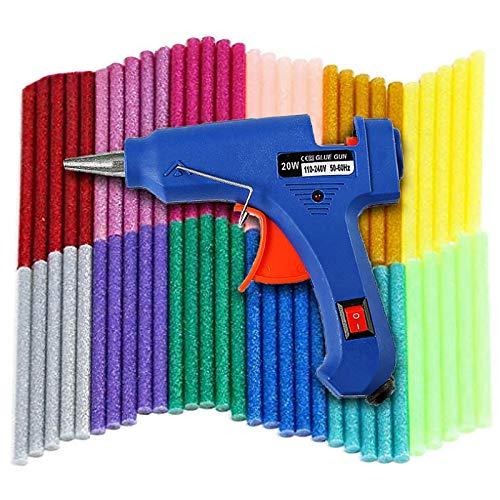 Mini Pistola de Silicona 20W, 60 Pcs Barras De Pegamento Alta Temperatura, Bricolaje Reparaciones Rápidas Reparaciones Rápidas Y En El Hogar Oficina(Azul)