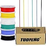 Cable eléctrico calibre 22, cable de cobre estañado 22 AWG Cable flexible de silicona (6 bobinas de 8 colores diferentes) 600V Cable electrónico de conexión