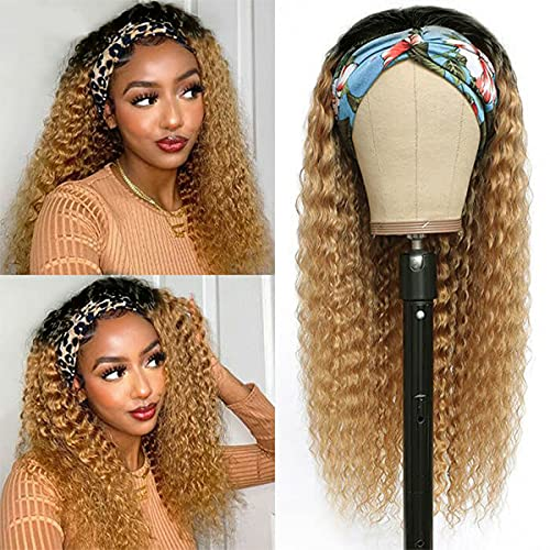 """Headband Wig for Black Women Glueless Long Curly Dark Brown Ombre Non Lace Front Wig Natural Looking High Density Deep Wave Headband Wigs with Attached Scarft 16"""""""